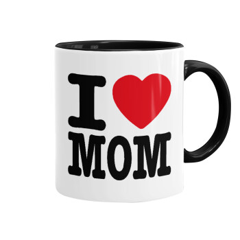 I LOVE MOM, Κούπα χρωματιστή μαύρη, κεραμική, 330ml