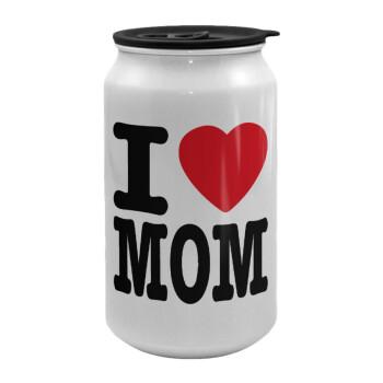 I LOVE MOM, Κούπα ταξιδιού μεταλλική με καπάκι (tin-can) 500ml