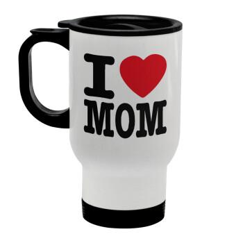 I LOVE MOM, Κούπα ταξιδιού ανοξείδωτη με καπάκι, διπλού τοιχώματος (θερμό) λευκή 450ml