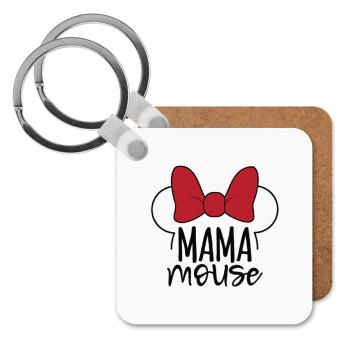 MAMA mouse, Μπρελόκ Ξύλινο τετράγωνο MDF 5cm (3mm πάχος)