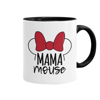 MAMA mouse, Κούπα χρωματιστή μαύρη, κεραμική, 330ml