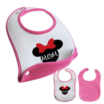 mini mom, Σαλιάρα μωρού Ροζ κοριτσάκι, 100% Neoprene (18x19cm)