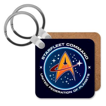 Starfleet command, Μπρελόκ Ξύλινο τετράγωνο MDF 5cm (3mm πάχος)