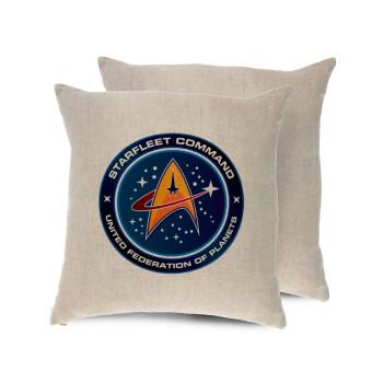 Starfleet command, Μαξιλάρι καναπέ ΛΙΝΟ 40x40cm περιέχεται το γέμισμα