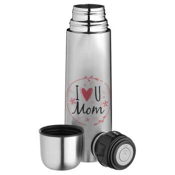 I Love you Mom pink, Ισοθερμικό παγουρί & θερμό camping από ανοξείδωτο ατσάλι, διπλού τοιχώματος, 750ml
