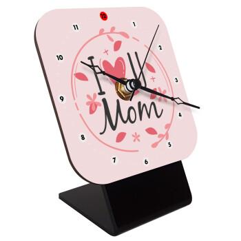 I Love you Mom pink, Επιτραπέζιο ρολόι ξύλινο με δείκτες (10cm)