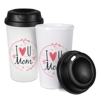 I Love you Mom pink, Κούπα ταξιδιού πλαστικό (BPA-FREE) με καπάκι βιδωτό, διπλού τοιχώματος (θερμό) 330ml (1 τεμάχιο)