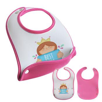 Best mom Princess, Σαλιάρα μωρού Ροζ κοριτσάκι, 100% Neoprene (18x19cm)