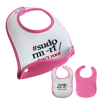Sudo RM, Σαλιάρα μωρού Ροζ κοριτσάκι, 100% Neoprene (18x19cm)