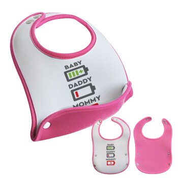 BABY, MOMMY, DADDY Low battery, Σαλιάρα μωρού Ροζ κοριτσάκι, 100% Neoprene (18x19cm)