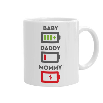 BABY, MOMMY, DADDY Low battery, Κούπα, κεραμική, 330ml (1 τεμάχιο)
