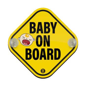 Baby on board BOY, Σήμανση αυτοκινήτου Baby On Board ξύλινο με βεντουζάκια (16x16cm)