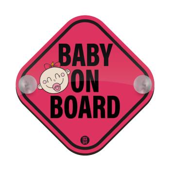 Baby on board GIRL, Σήμανση αυτοκινήτου Baby On Board ξύλινο με βεντουζάκια (16x16cm)