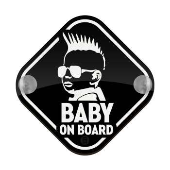 Baby on board ο μικρός PANK, Σήμανση αυτοκινήτου Baby On Board ξύλινο με βεντουζάκια (16x16cm)