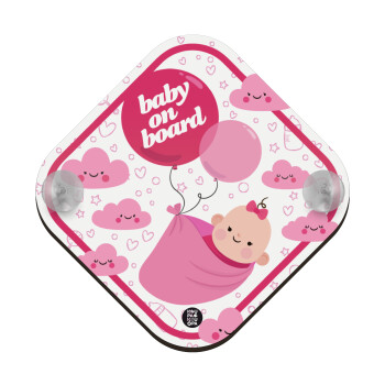 Baby pink balloons, Σήμανση αυτοκινήτου Baby On Board ξύλινο με βεντουζάκια (16x16cm)