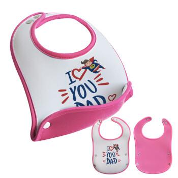 Super Dad, Σαλιάρα μωρού Ροζ κοριτσάκι, 100% Neoprene (18x19cm)