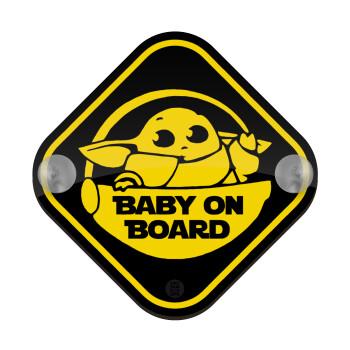 Baby yoda on board, Σήμανση αυτοκινήτου Baby On Board ξύλινο με βεντουζάκια (16x16cm)
