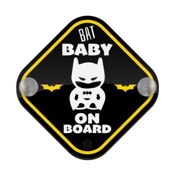 BAT baby on board, Σήμανση αυτοκινήτου Baby On Board ξύλινο με βεντουζάκια (16x16cm)