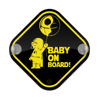 JEDI baby on board, Σήμανση αυτοκινήτου Baby On Board ξύλινο με βεντουζάκια (16x16cm)