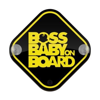 BOSS Baby on board, Σήμανση αυτοκινήτου Baby On Board ξύλινο με βεντουζάκια (16x16cm)