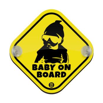 GANG Baby on board, Σήμανση αυτοκινήτου Baby On Board ξύλινο με βεντουζάκια (16x16cm)
