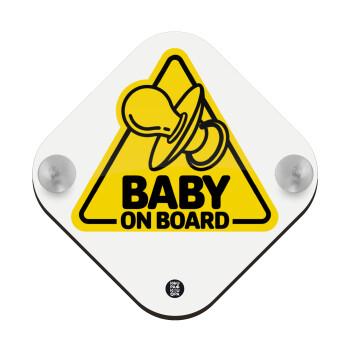 Πιπίλας Baby on board, Σήμανση αυτοκινήτου Baby On Board ξύλινο με βεντουζάκια (16x16cm)