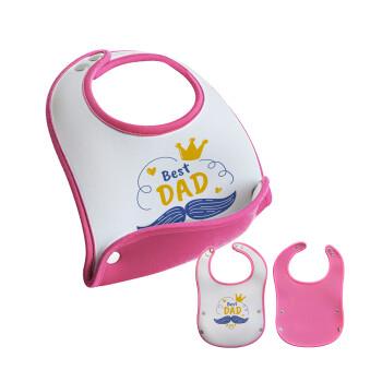 Best dad ever ο Βασιλιάς, Σαλιάρα μωρού Ροζ κοριτσάκι, 100% Neoprene (18x19cm)