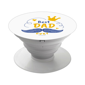 Best dad ever ο Βασιλιάς, Pop Socket Λευκό Βάση Στήριξης Κινητού στο Χέρι
