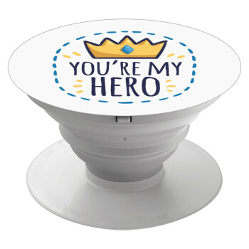 Dad, you are my hero!, Pop Socket Λευκό Βάση Στήριξης Κινητού στο Χέρι