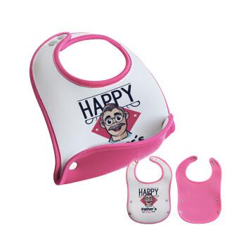 Για την γιορτή του μπαμπά!, Σαλιάρα μωρού Ροζ κοριτσάκι, 100% Neoprene (18x19cm)