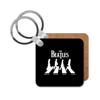 The Beatles, Abbey Road, Μπρελόκ Ξύλινο τετράγωνο MDF 5cm (3mm πάχος)