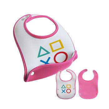 Gaming Symbols, Σαλιάρα μωρού Ροζ κοριτσάκι, 100% Neoprene (18x19cm)