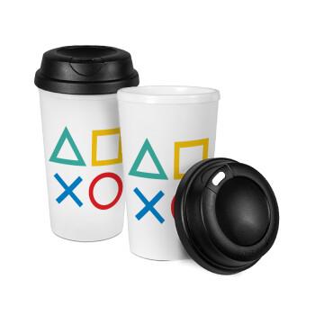 Gaming Symbols, Κούπα ταξιδιού πλαστικό (BPA-FREE) με καπάκι βιδωτό, διπλού τοιχώματος (θερμό) 330ml (1 τεμάχιο)