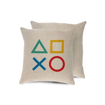 Gaming Symbols, Μαξιλάρι καναπέ ΛΙΝΟ 40x40cm περιέχεται το γέμισμα