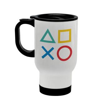 Gaming Symbols, Κούπα ταξιδιού ανοξείδωτη με καπάκι, διπλού τοιχώματος (θερμό) λευκή 450ml