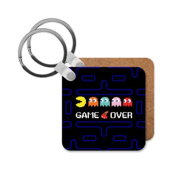 GAME OVER pac-man, Μπρελόκ Ξύλινο τετράγωνο MDF 5cm (3mm πάχος)