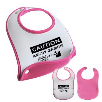 Caution, angry gamer!, Σαλιάρα μωρού Ροζ κοριτσάκι, 100% Neoprene (18x19cm)