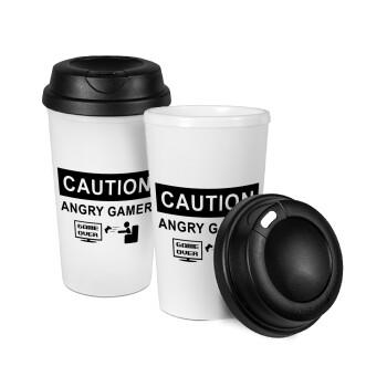 Caution, angry gamer!, Κούπα ταξιδιού πλαστικό (BPA-FREE) με καπάκι βιδωτό, διπλού τοιχώματος (θερμό) 330ml (1 τεμάχιο)