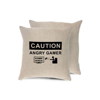 Caution, angry gamer!, Μαξιλάρι καναπέ ΛΙΝΟ 40x40cm περιέχεται το γέμισμα