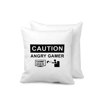 Caution, angry gamer!, Μαξιλάρι καναπέ 40x40cm περιέχεται το γέμισμα