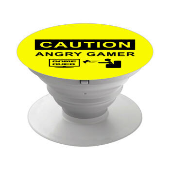 Caution, angry gamer!, Pop Socket Λευκό Βάση Στήριξης Κινητού στο Χέρι