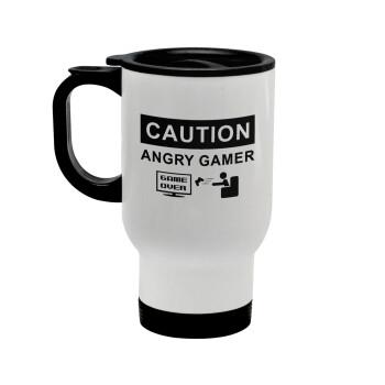 Caution, angry gamer!, Κούπα ταξιδιού ανοξείδωτη με καπάκι, διπλού τοιχώματος (θερμό) λευκή 450ml
