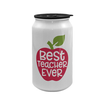 best teacher ever, apple!, Κούπα ταξιδιού μεταλλική με καπάκι (tin-can) 500ml