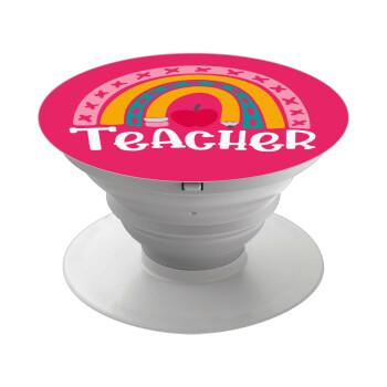 Rainbow teacher, Pop Socket Λευκό Βάση Στήριξης Κινητού στο Χέρι