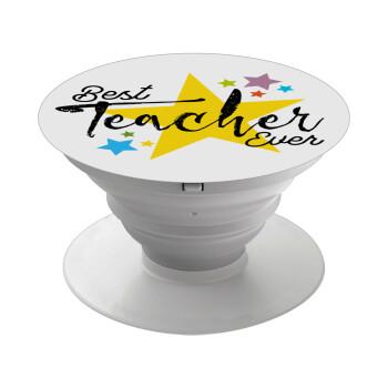 Teacher super star!!!, Pop Socket Λευκό Βάση Στήριξης Κινητού στο Χέρι