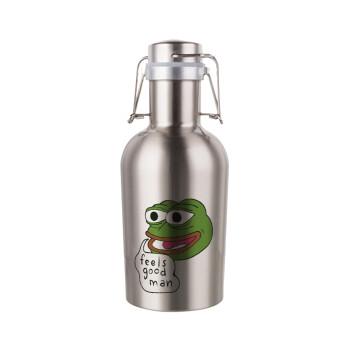 Pepe the frog, Μεταλλικό παγούρι Inox (Stainless steel) με καπάκι ασφαλείας 1L