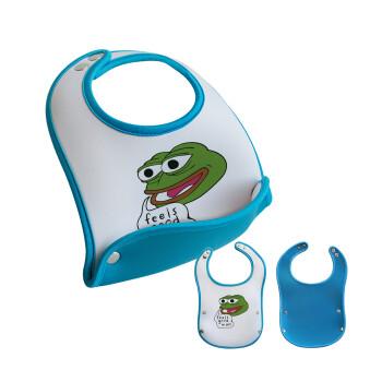 Pepe the frog, Σαλιάρα μωρού Μπλε αγοράκι, 100% Neoprene (18x19cm)