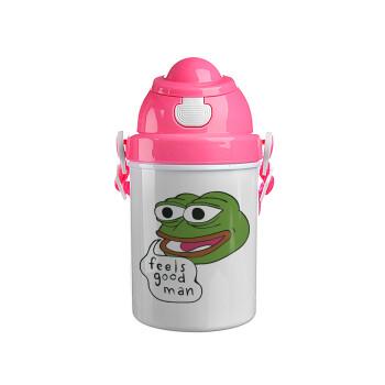 Pepe the frog, Ροζ παιδικό παγούρι πλαστικό με καπάκι ασφαλείας, κορδόνι και καλαμάκι, 400ml