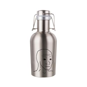 Feel guy, Μεταλλικό παγούρι Inox (Stainless steel) με καπάκι ασφαλείας 1L