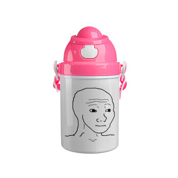 Feel guy, Ροζ παιδικό παγούρι πλαστικό με καπάκι ασφαλείας, κορδόνι και καλαμάκι, 400ml